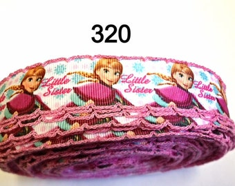 """3 or 5 yard - 1"""" Frozen Princess Anna """"Little Sister"""" with Pink Border Grosgrain Ribbon Hair bow Craft Supply"""