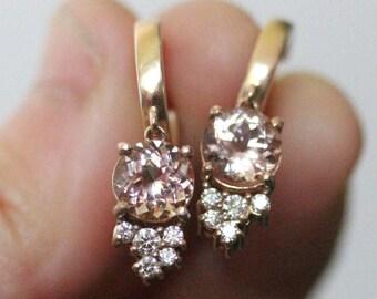 Morganite & Diamond 14K Gold Dangle Earrings, Hoop Earrings, Recycled Gold Earrings - Custom Made For Your