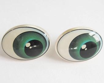 Pair Comic Oval Doll Eyes 25 mm, Cartoon Safety Eyes, Toy Eyes, Craft Eyes, Plush Eyes