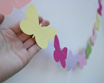 Baby Shower Butterfly Garland- 5 Foot Long PICK YOUR COLORS