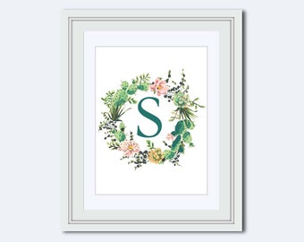 Monogram S - cactus monogram - nursery wall art - cactus wreath - floral monogram - Monogram Wall Art - monogram Home Decor