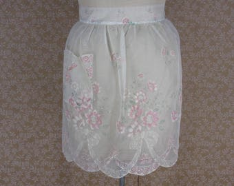 Vintage White Pink Flocked Floral Apron Gathered Waist