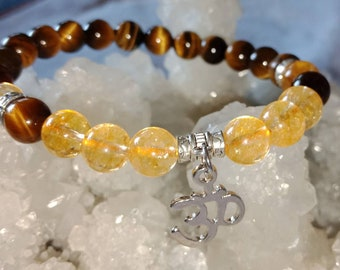Prosperity, Success, Good Fortune, Balance Yin and Yang Energy, Citrine And Tiger Eye Bracelet With Om Charm 8 MM