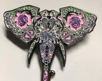 Sugar Skull Elephant Pin
