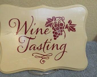 Wine Tasting Wooden Sign