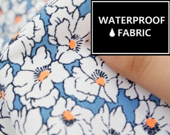 "Waterproof Fabric - by Yard, 150cm(59"") Width, Blue Flower Pattern,"