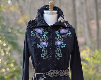 Reserved! Victorian Floral sweater Coat, refashioned eco couture, unique Fantasy clothing, Art to wear Fantasy black goddess Coat. Size M/L