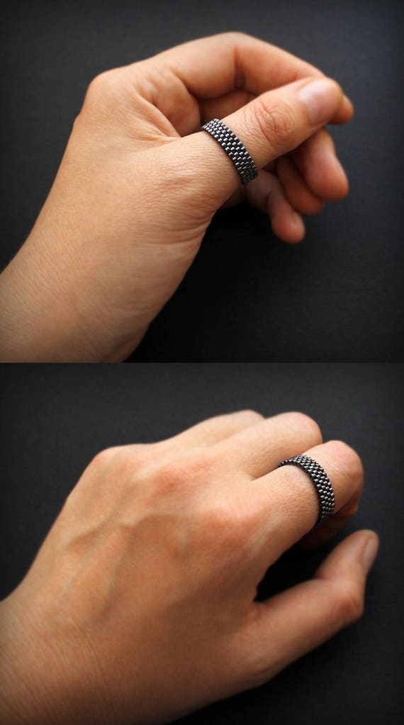 Gunmetal ring Thumb ring for men Womens band ring Seed bead