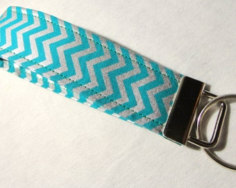 Wristlet Key Fob / Key Chain -Chevron / Teal and Silver