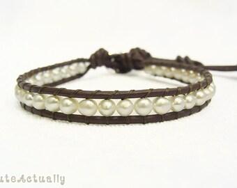 White freshwater pearl single wrap bracelet on brown leather cord, pearl wrap bracelet