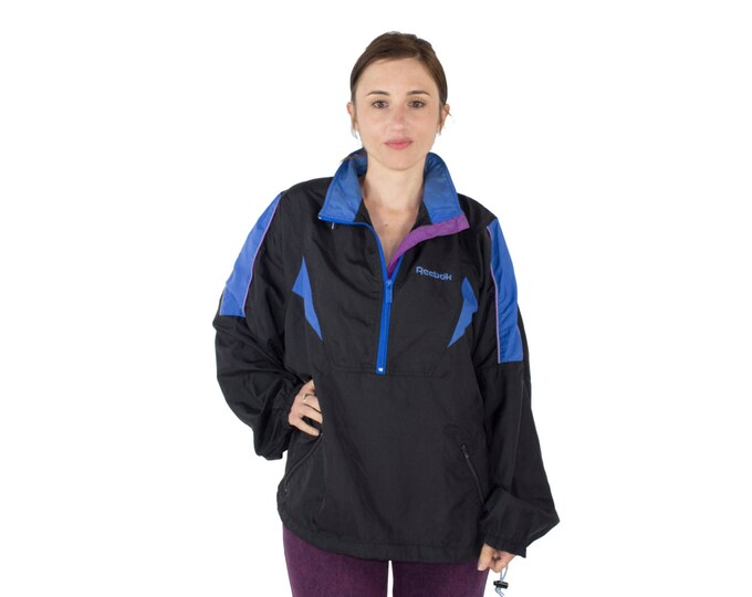 90's Vintage Reebok Track Jacket with SECRET HOOD | Black and Blue Long Sleeve Running Jacket | Size Small