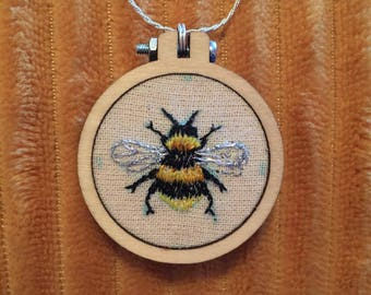 Bumble Bee embroidery Hoop Necklace