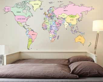 Large world map wall decal sticker 7ft x 347ft vinyl wall 72ft printed world map wall vinyl self adhesive office travel gumiabroncs