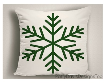 Christmas Pillows with Green Snowflake, Christmas Decorations Snowflakes, Holiday Pillows in Green, Christmas Throw Pillow Covers
