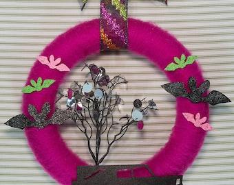 Halloween Wreath, Bat Wreath, Pink Halloween Wreath, Hearse Wreath, Halloween Yarn Wreath, Pink Yarn Wreath