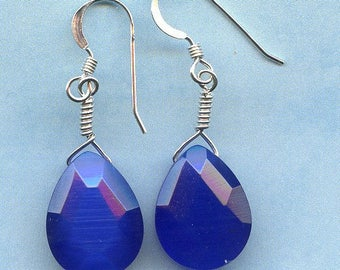 Royal Blue Teardrop Sterling Silver Earrings