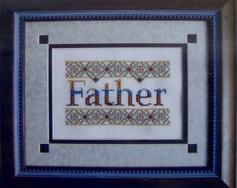 Cross Stitch Pattern | Turquoise Graphics & Designs FATHER Father's Day DAD Family - Counted Cross Stitch