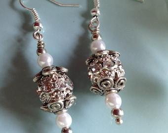 Pearl earrings, bridal jewelry, wedding jewelry, Swarovski earrings, sterling silver, handcrafted jewelry, handmade