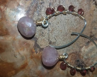 Pink Aura Earrings Mystic Mica Lepidolite Earrings Garnet Earrings Karen Hill Tribe Silver Earrings Mixed Metal Wire Wrap Earring Pink Blush