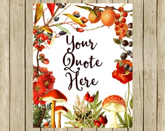 Fall art print Autumn quote custom printable home decor wall art