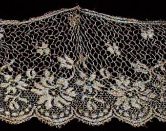 """Antique French Lace Silky Remnant 4.5"""" Wide"""