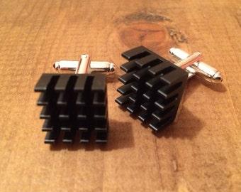 Aluminium Heatsink Cufflinks, anodized, Raspberry Pi