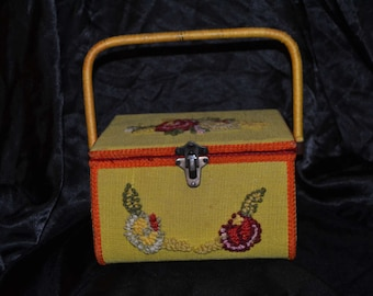 Vintage Yellow and Orange Embroidered Needlepoint Sewing Basket Box