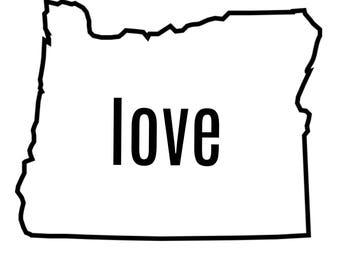 Oregon love vinyl sticker for vehicle