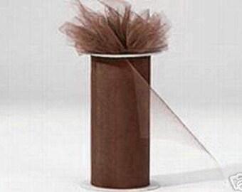 6 inch x 75 ft Nylon Tulle Roll -- CHOCOLATE/DARK BROWN