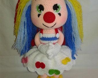 MISS MOLLY the Clown - Crochet Amigurumi Clown Doll