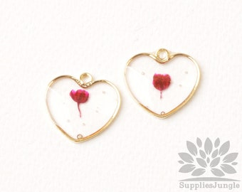 P965-03-RD// Gold Plated Framed Heart Real Dried Pressed Red Flower Pendant, 2pcs
