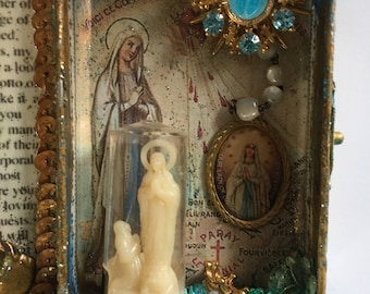 Reserved! Our Lady of Lourdes Assemblage Shrine Altered Shrine Pocket Shrine Travel Shrine Mixed Media Shrine Altoid Tin