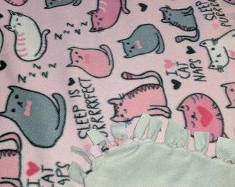I Love Cat Naps Fleece Tied Blanket