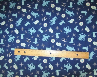 Riley Blake Blue Cowboy/Rodeo/Horse/Boot Cotton Fabric by the Yard