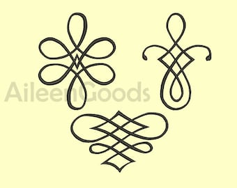 3 Flourishes Embroidery  design 7 Size INSTANT download machine embroidery