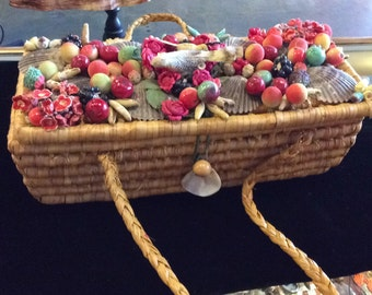 1950s Fruit and Birds Handbag Novelty Straw Box Bag