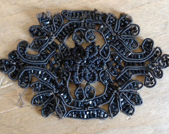 "French jet bead applique, handmade antique widow's mourning embellishment ""grand deuil"""