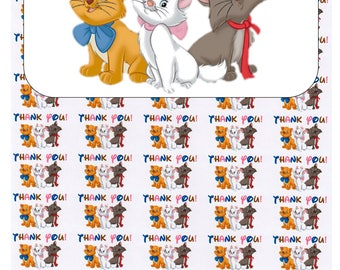 """50 Aristocats Thank You Envelope Seals / Labels / Stickers, 1"""" by 1.5"""""""