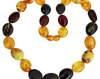 Stunning Baltic Cognac or Multicolour Amber Necklace Plums. Comes in a lovely gift box