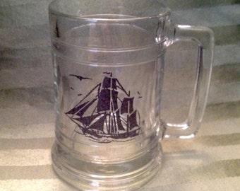 Vintage set of 4 nautical sailing ships mugs, mid century sailing ship steins, set of 4 ship mugs, nautical barware, ship glasses
