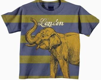 Elephant Shirt, Personalized Striped Boys Clothing, T-Shirt