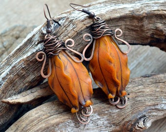 Orange jewelry Dangle earrings Mothers day gift Floral Statement earrings Copper earrings Polymer clay jewelry Fashion earrings for her Drop