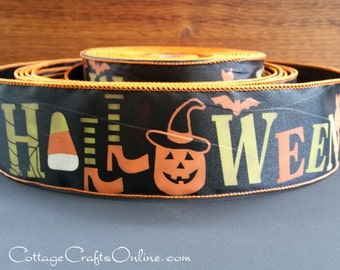 "Halloween Wired Ribbon, 2 1/2"", Green, Orange Halloween Script, Black Satin - THREE YARDS - Offray,  Pumpkin, Witches Legs Wire Edged Ribbon"