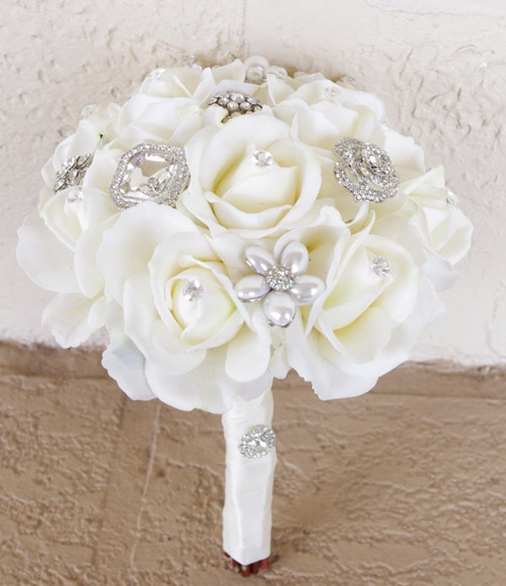 Silk Brooch Wedding Bouquet Natural Touch Roses and Flower