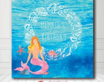 Birthday Backdrop - Custom Birthday Backdrop -Blue Ocean Mermaid Photo Booth Backdrop - Digital/VinylPrinted - FREE SHIPPING CANADA