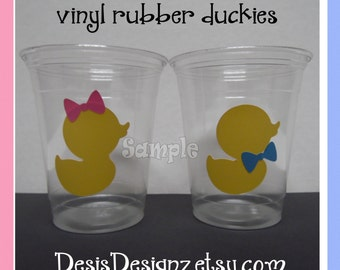 24 Gender reveal baby rubber ducky vinyl decals Baby shower  party decorations girl boy sprinkle party vinyl cup stickers party cups decals
