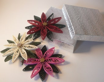Paper Quilled Christmas Poinsettia Flower Ornament Gift Topper
