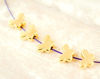 10x Metal bead Butterfly 7.5 mm Gold plated #4834