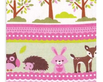 Woodland Pink Deer Fabric, Flannel Fabric Girl Nursery, Forest Friends Fabric, Girl Fabric