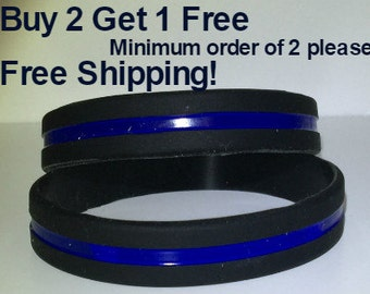 FREE Shipping!  Thin Blue Line Police Lives Matter Silicone (1) Police Lives Matter Wristband (3 Sizes - ADULT and CHILD)